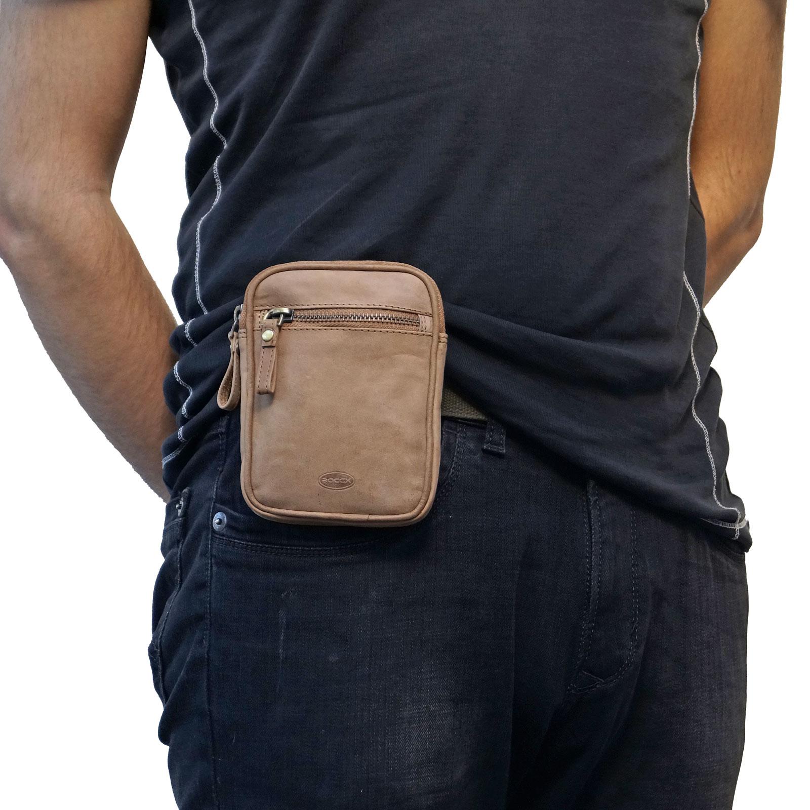 Boccx Markenshop Leder Gürteltasche mit Reißverschluss